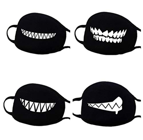 muffle Mask Anti-Dust Anime Mouth Mask Cute Kaomoji Face Emoticon Earloop Cotton Surgical Mask For Kids Men and Women (Black 4 Pcs) by FIST BUMP Dept