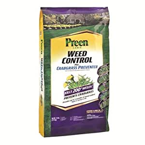 The Dirty Gardener Preen Weed Control and Crabgrass Preventerl Granules, Covers 5,000 Sq Ft, last up to 5 months.