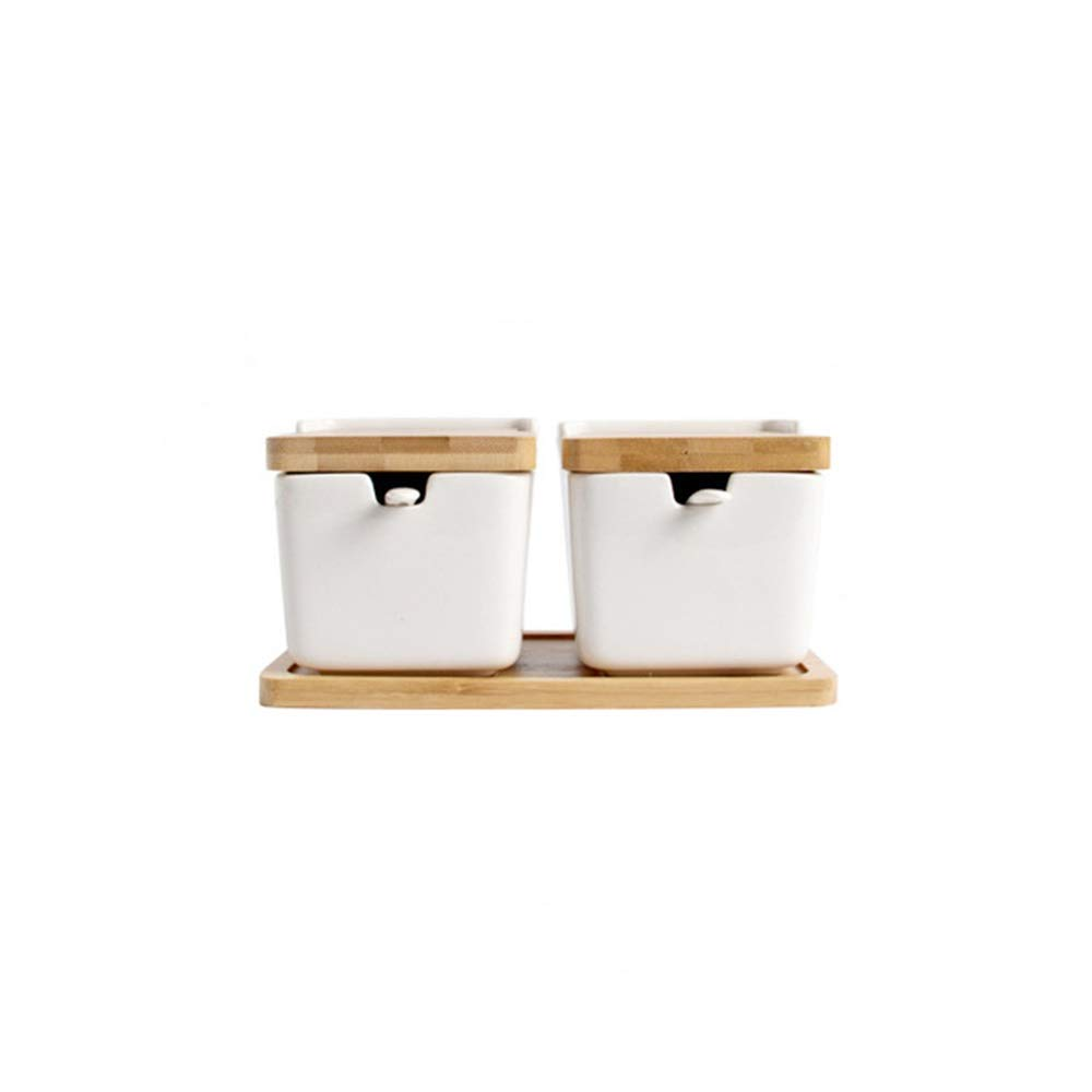 White Porcelain Spice Jars Small Ceramic Canister With Bamboo Wood Lid,9.5 Ounce Decorative Kitchen Containers,Suitable for Dishwasher Refrigerator (Color : 02) by Lfsp