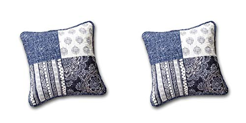 DaDa Bedding Throw Pillow Covers - Patchwork 100% Cotton Bohemian Denim Blue Elegance - Bright Vibrant Multi Colorful Navy Floral - 18