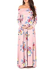 Mother Bee Women's Floral Over The Shoulder Ruched Maternity Nursing Dress Made in USA