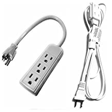 JF 6 feet Wall Hugger Extension Cord White Color and 3-Outlet Power Strip 1ft Cord 120 Volt Grounded Power Cord Beige White Color