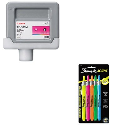 KITCNM1488B001AASAN28175PP - Value Kit - Canon 1488B001 PFI-301M Ink Tank (CNM1488B001AA) and Sharpie Retractable Highlighters (SAN28175PP)
