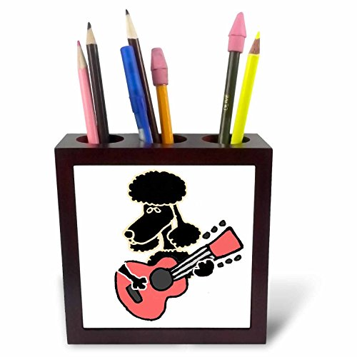 3dRose All Smiles Art Music - Funny Cute Black Poodle Dog Playing Pink Guitar - 5 inch tile pen holder (Cute Poodle)