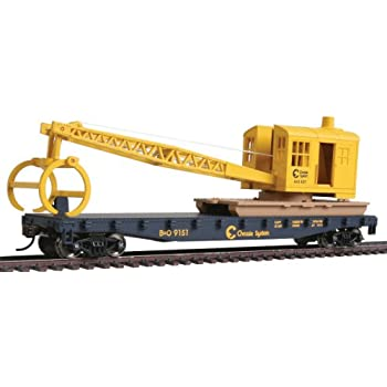 Walthers Trainline Flatcar with Logging Ready to Run Crane - Chessie/Baltimore and Ohio 9151, Blue and Yellow