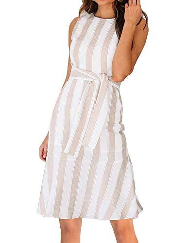 FANCYINN Womens Stripe Print Sleeveless Flare Mermaid Midi Dress Casual Style Khaki M ()