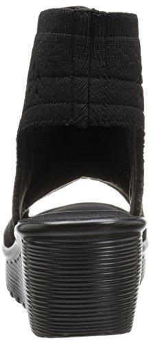 Parallel Toe cuña de Zapato Skechers49829 de Mujer Punto Stretch Negro Knit Tight Peep pdwwqUf