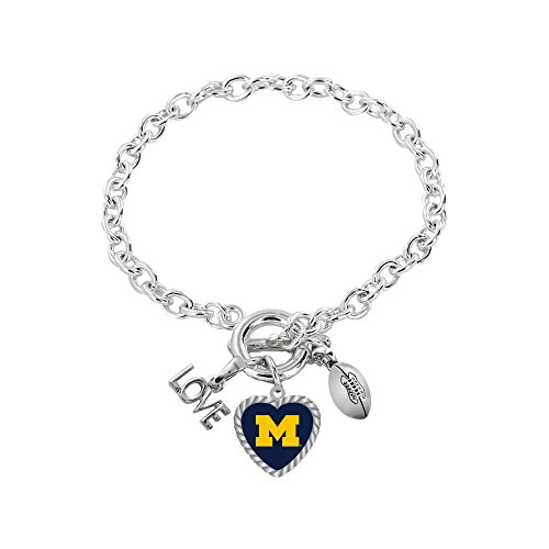 aminco NCAA Michigan Wolverines Charmed Sport Love Bracelet from aminco