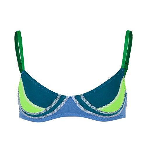 Color Block Fiber-Lite Bikini Top, Navy/Acid Blue/Lemon