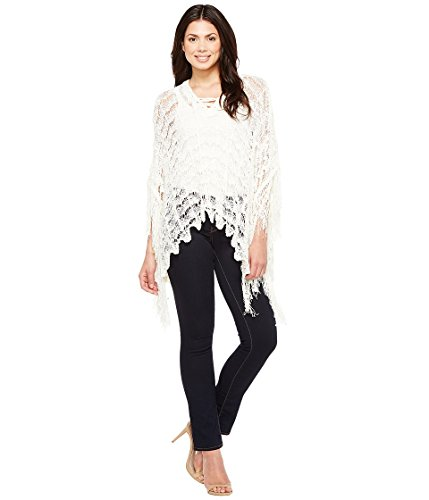 Boho-Chic Vacation & Fall Looks - Standard & Plus Size Styless - Steve Madden Women's On the Fringe Knit Poncho Ivory Shirt