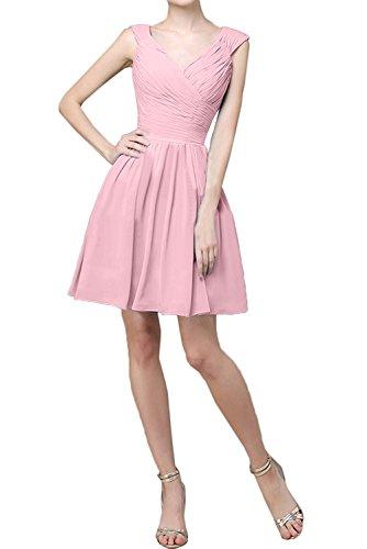 A Rosa Partykleider Chiffon Linie Brautjungfernkleider Abendkleider Elegant Kurz La Braut Flieder Ballkleider mia Mini wqxzSBBOH