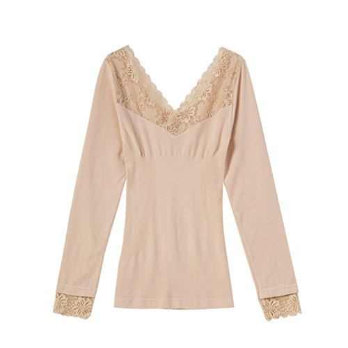 Cnhw Women's Modal Lace V-neck Seamless Reversible Style Thermal Underwear Tops Skin L