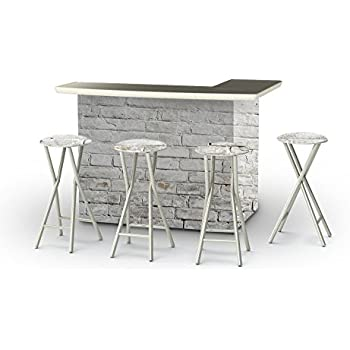 Best Of Times Portable Patio Bar Table With Stools, White Cinderblock