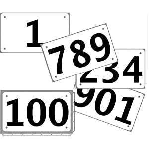 Race Numbers 1-100 Competitor tryout tyvek bib Numbers, Set of 100, (Any 100 from 1-1,000) 4″x7″, Industry Standard tyvek tearproof
