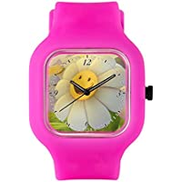 Bright Pink Fashion Sport Watch Smiley Face Daisy Flower
