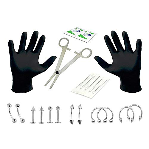 Aoile 22pcs Professional Piercing Kit Stainless Steel Sterile Needle 14G 16G Nipple Tongue Body Ring Tool Photo Color 14G (Stainless Steel Sterile)