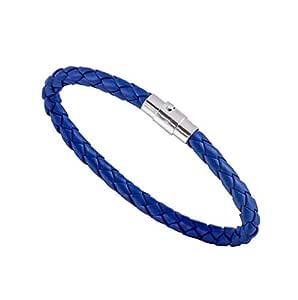 Couple simple popular leather hand-woven alloy magnetic buckle bracelet(Dark blue)