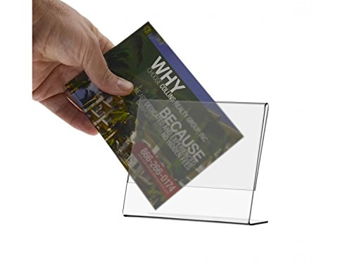 Marketing Holders Deluxe Slant Back Ad Frames Premium Acrylic Literature Display Stands 5'' w x 3.5'' h Pack of 6