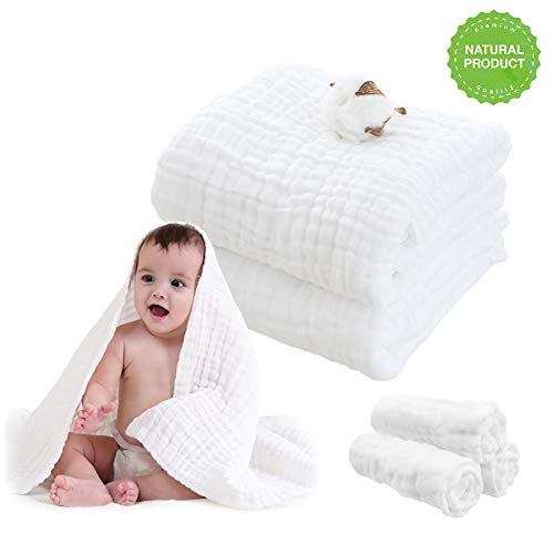 Baby Muslin Bath Blanket (43x43 inches, 2 Pack)-100% Natural Organic 6-Layers Gauze Swaddles & Towel for Sensitive Skin- Baby Shower Gift White
