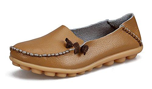 VenusCelia Frauen Comfort Walking Netter Flacher Loafer Bräunen