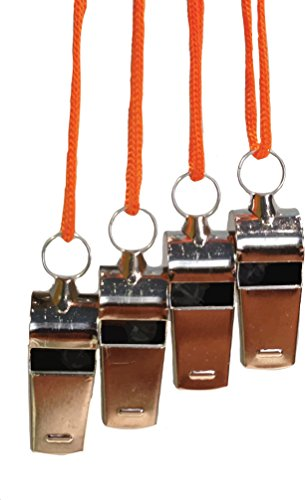 Premium Metal Coaches Whistle with Lanyard (4 Pack) - Loud stainless steel whistles perfect for Coaches, Referee, Officials, Football Coach, Basketball, Soccer, Hockey, Lifeguard (Whistle Hockey compare prices)