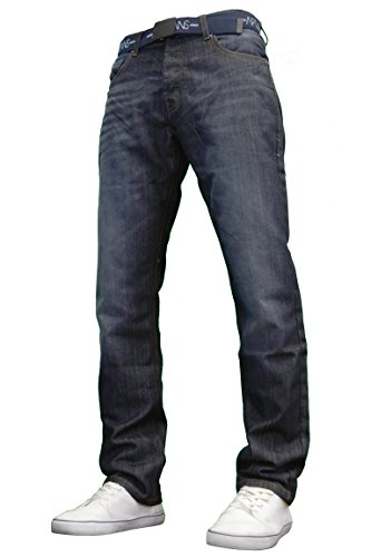 dedceca4eb35d6 APT Mens Designer Branded Basics Regular Fit Jeans (30W x 32L, Darkwash)