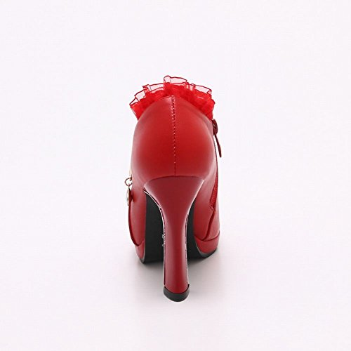 Carolbar Kvinners Blonder Dekorative Grense Viktoriansk Stil Zip Ankel Boots Red