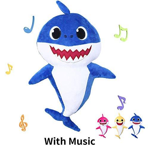 HUAYIMAOYISinging Plush Cartoon Plush Toys Soft Sharks Dolls Animal Kids Infant Toy Birthday Gifts New (Blue)
