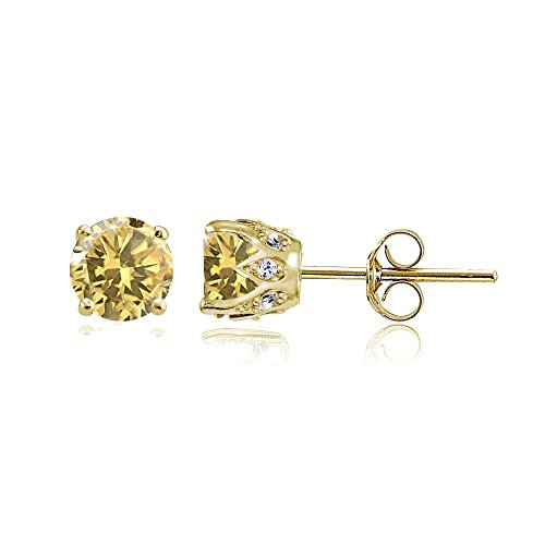 Yellow Gold Flashed Sterling Silver Citrine and Cubic Zirconia Accents Crown Stud Earrings