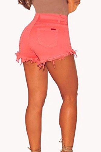 Zip Red Vita Interrompe Pulsante Le Donne Hot Jeans Alta gI88EA