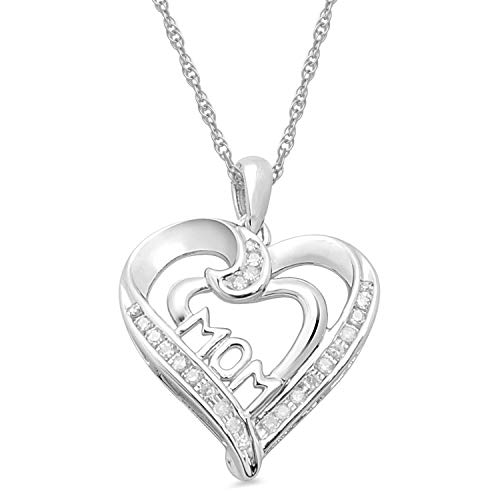 Jewelili 10kt White Gold Natural White Diamond Accent MOM Heart Pendant Necklace, 18