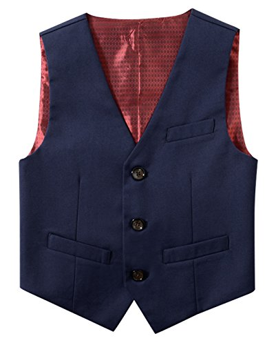 mengtongmeng Teen Boys Classic V-Neck Formal Vest Adjustable Button Tuxedo Suit Fully Lined Solid Color Dressy Waistcoat, Navy Blue, (Classic Fully Lined Vest)