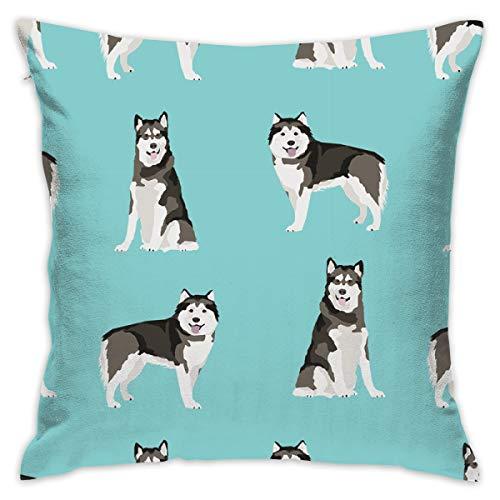 smartgood Alaskan Malamute Dog Breed Pet Fabric Turquoise_8945 Throw Pillow Case Cushion Cover Cotton Linen Decorative Pillowcase for Home Sofa Car 18 x 18 Inches