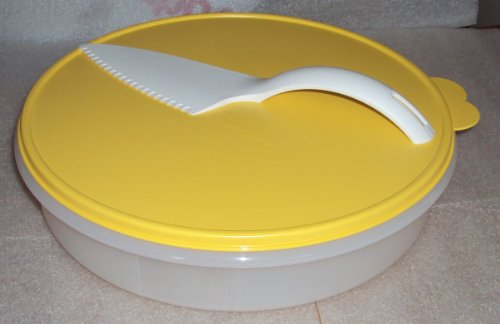 Tupperware 12 inch Round Pie Keeper with Cut N Serve Pastry Server Knife