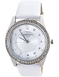 Silver Dial White Leather Strap Ladies Watch 10031707