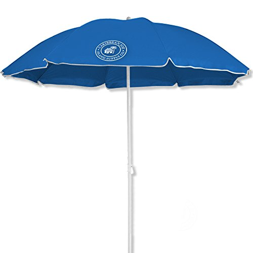 Caribbean Joe beach umbrella UV protection with color matching carry case, Blue, 6' by Caribbean Joe