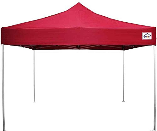 Impact Canopy 10x10 Aluminum Pop Up Canopy Tent Impact Canopies Light Weight Instant Sun and Rain Shelter with Roller Bag, Red
