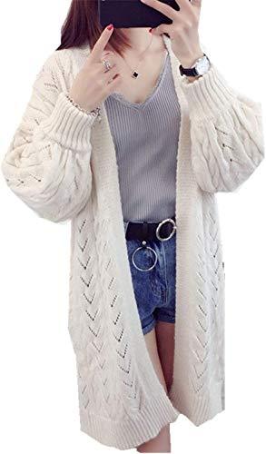 Outerwear Maglia Maniche Cappotto Fashion Aperto Invernali Beige Semplice Monocromo Forcella Casual Lunghe Eleganti Vintage Pullover Autunno Donna A Giacca Glamorous Ragazze U44q5g