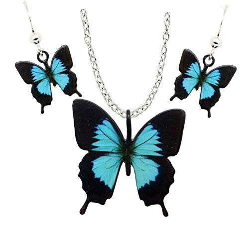 d'ears Blue Mountain Swallowtail Butterfly-Shaped Necklace Stainless Steel 18