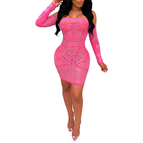 Nhicdns Women's Sexy Rhinestone See Through Mesh Off Shoulder Bodycon Cocktail Mini Dress Rose red XL