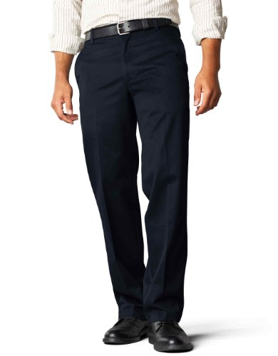 Dockers Men's Straight Fit Flat Front Navy
