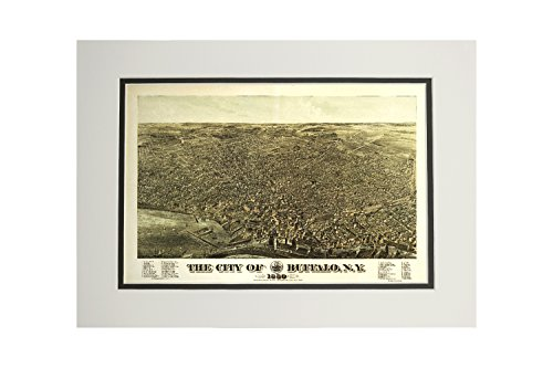 Buffalo, New York - (1880) - Panoramic Map (11x14 Double-Matted Art Print, Wall Decor Ready to Frame)