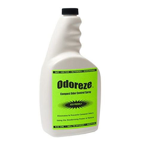 ODOREZE Natural Compost Odor Control Spray: 32 oz. Concentrate Makes 128 Gallons to Stop Composting - Free Compost Caddy