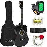 MEDA | Beginners 38'' Acostic Guitar with Case, Strap, Digital E-Turner, and Pick (Black)