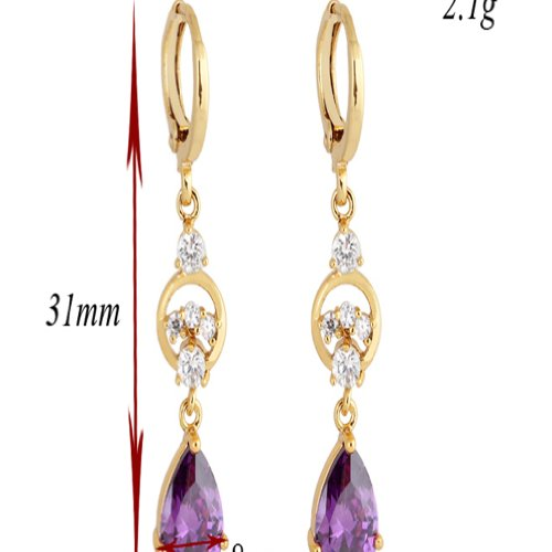 Yazilind Charming Smooth 18k Gold Plated Inlay Teardrop Cubic Zirconia Dangle Drop Earrings for Women