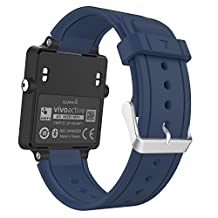 Garmin Vivoactive Watch Band, MoKo Soft Silicone Replacement Fitness Bands Wristbands with Metal Clasps for Garmin Vivoactive / Vivoactive Acetate Sports GPS Smart Watch - Midnight BLUE