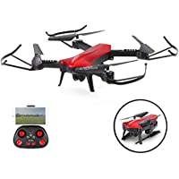 SZJJX RC Drones Foldable Remote Control Drones with Camera Wifi Quadcopter FPV VR Helicopter 2.4GHz 6-Axis Gyro 4CH with Adjustable Wide Angle 2MP HD Camera RTF SJ60 (Red)