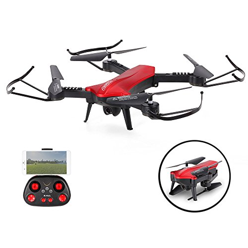 SZJJX RC Drones Foldable Remote Control WiFi Quadcopter FPV VR Helicopter 2.4Ghz 6-Axis Gyro 4CH with Adjustable Wide Angle 2mp HD Camera Rtf SJ60 (Red) (Mini Orion Live Feed Lcd Screen Drone)
