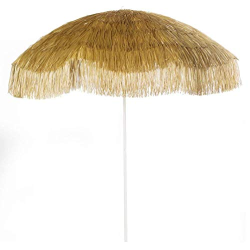New 6 Wide Hawaiian Tiki Design 6 FT Thatch Beach Umbrella with Sand Anchor 6 , Natural