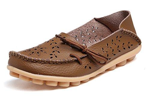 VenusCelia Damen Atmungsaktiver Walking Flat Loafer Khaki